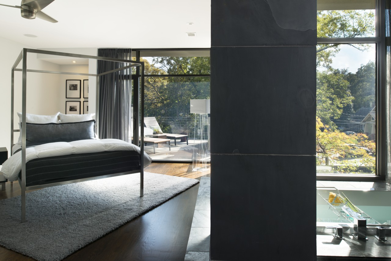 This master bedroom is a quiet sanctuary on architecture, door, floor, home, house, interior design, living room, property, wall, window, black, white