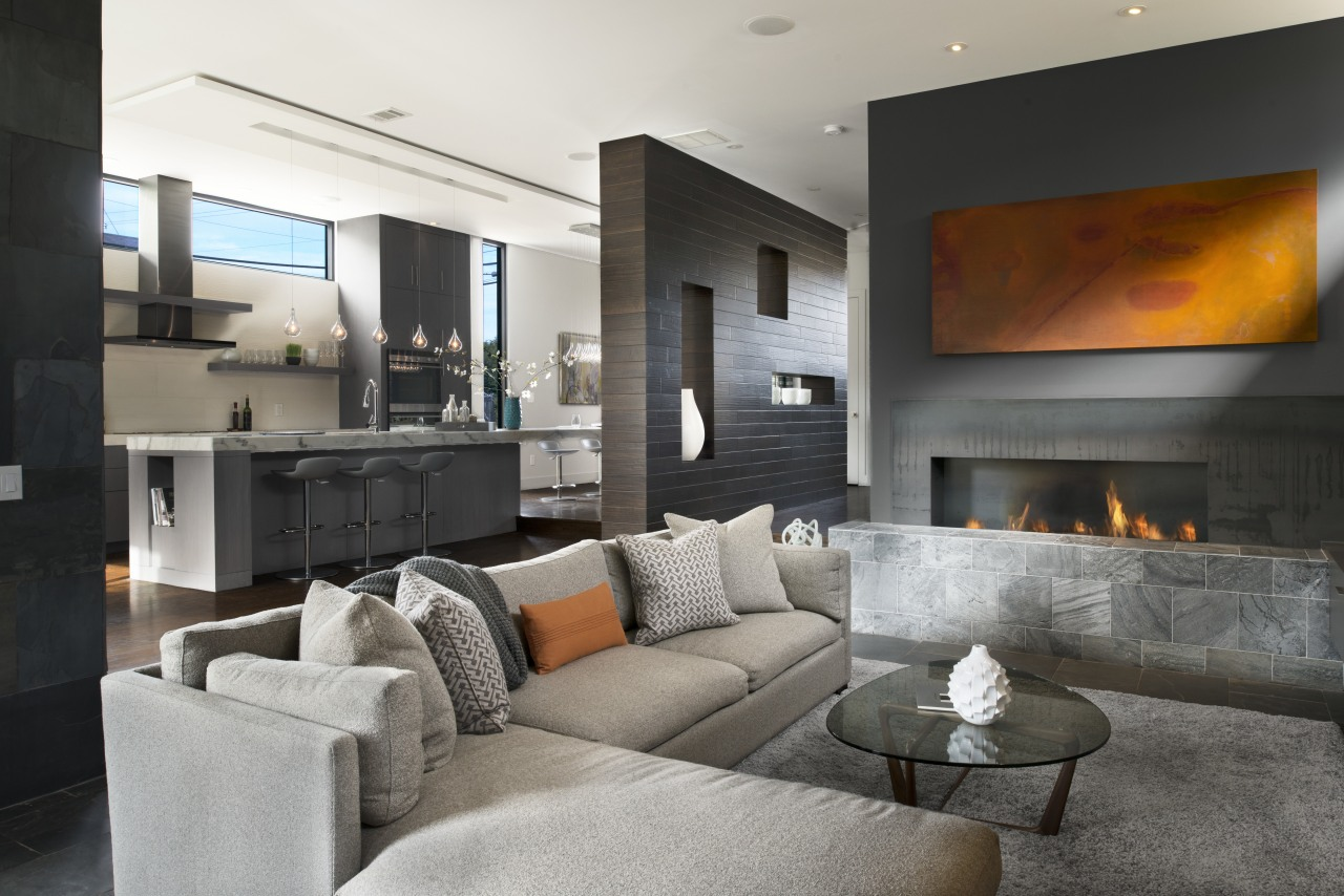 Living area with blade walls, part of highly fireplace, hearth, home, interior design, living room, real estate, room, gray, black