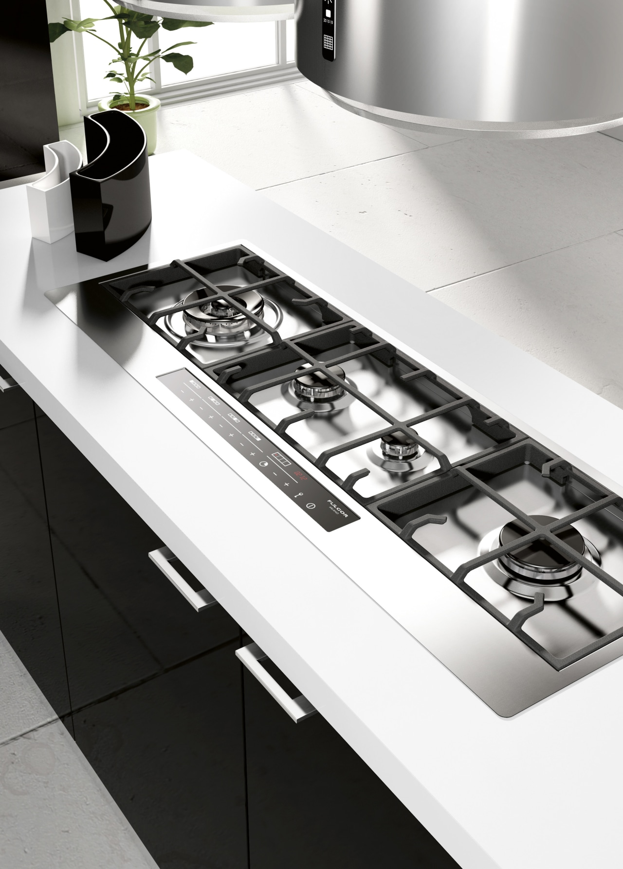 Italian appliance collection by Fulgor Milano black and white, countertop, kitchen, kitchen appliance, kitchen stove, product design, sink, small appliance, table, tap, white, black