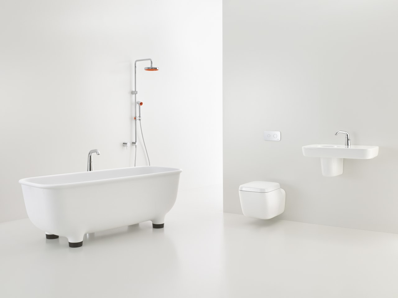 Caroma Marc Newson Collection bathroom, bathroom sink, bidet, ceramic, plumbing fixture, product, product design, tap, toilet seat, white