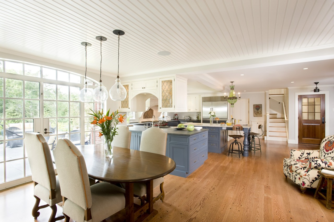 Traditional open plan kitchen ceiling, dining room, home, interior design, living room, real estate, room, white