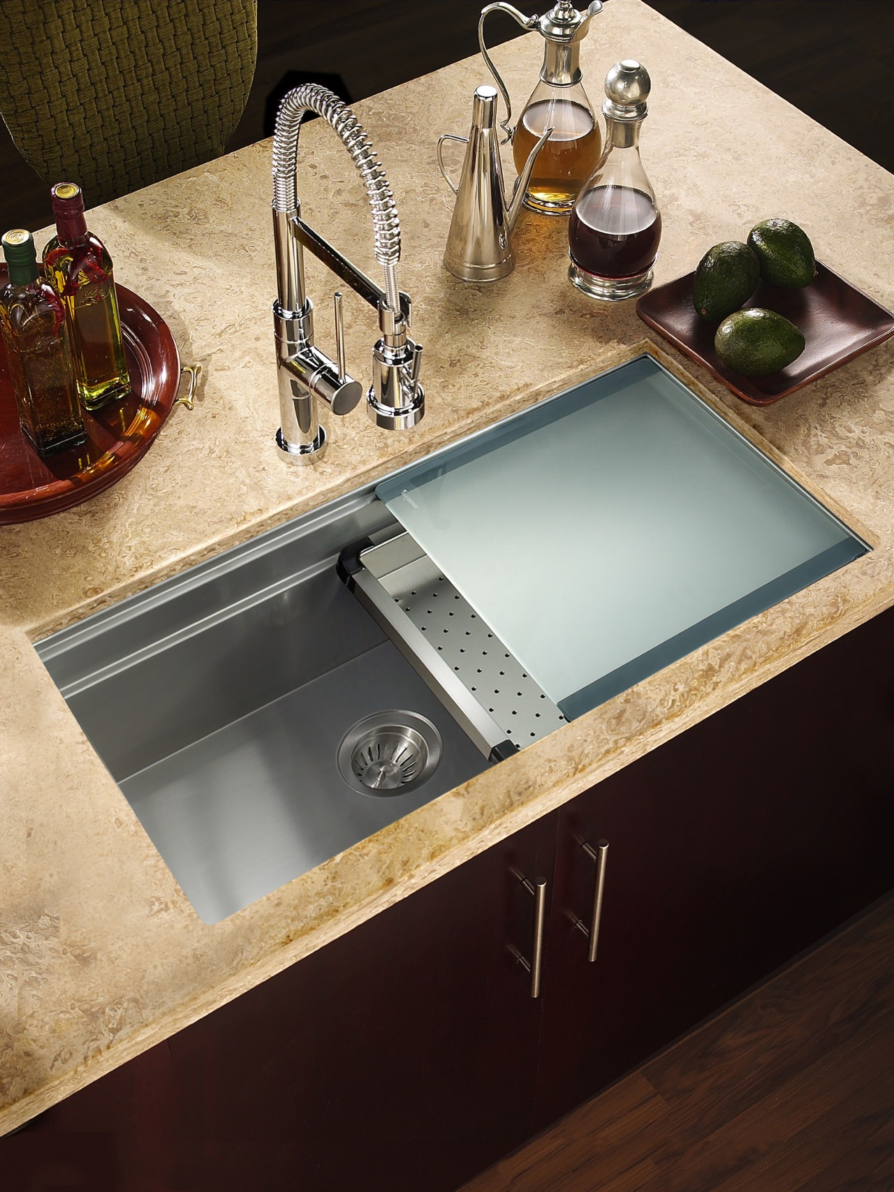 Houzer sinks come with sliding cutting boards can bathroom sink, countertop, plumbing fixture, sink, tap, black, orange