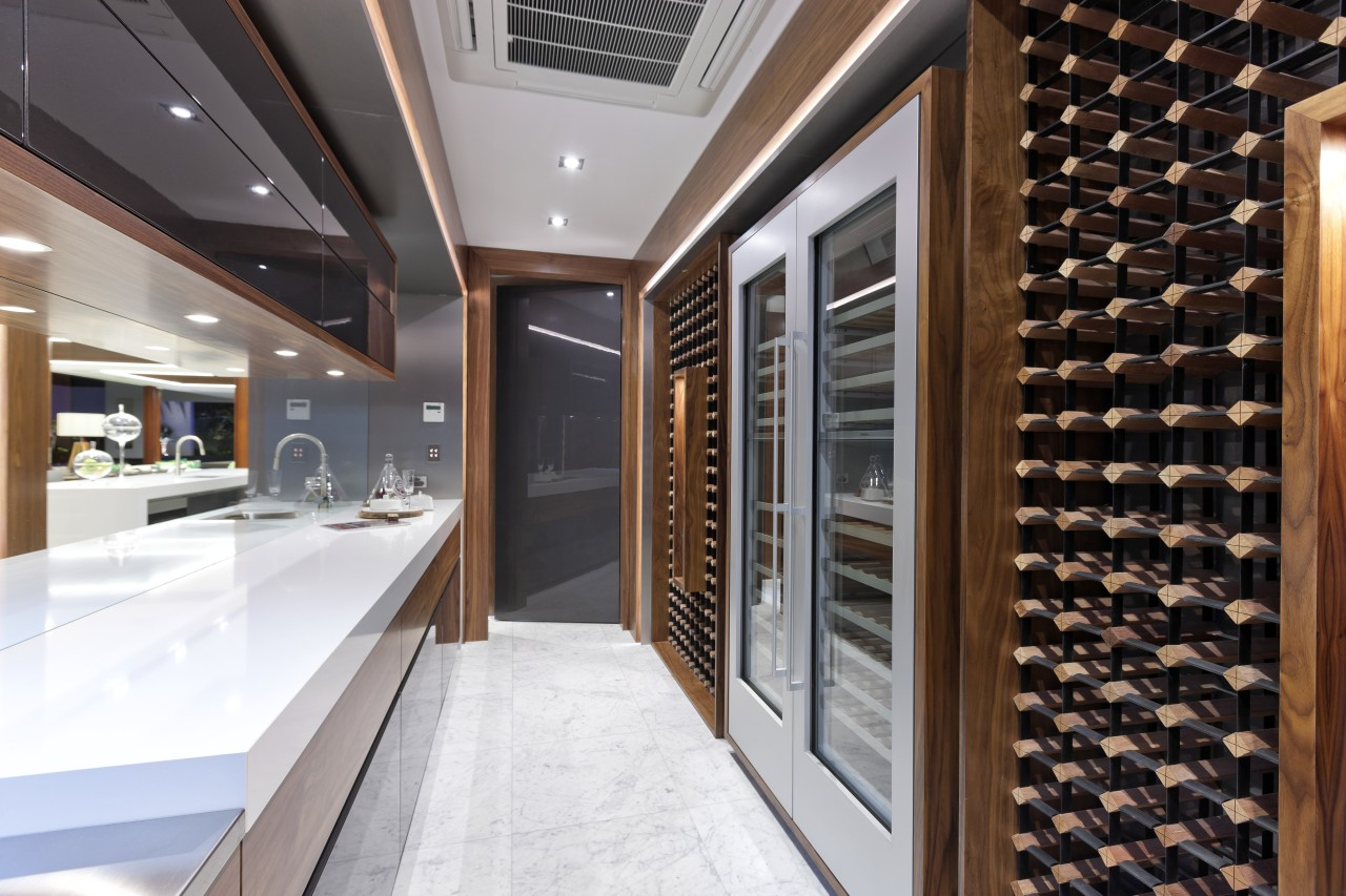 The wine cellar in this new house is ceiling, interior design