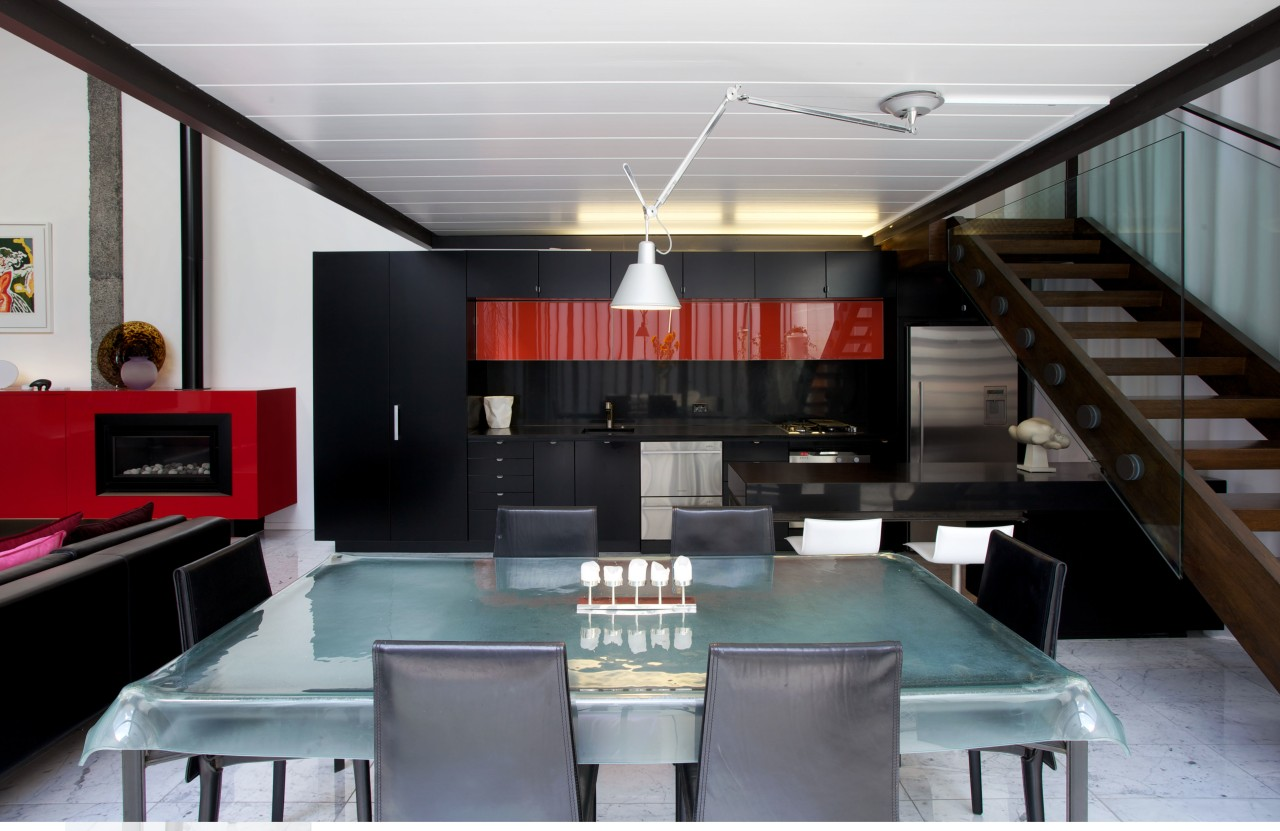 Living area in commercial building renovation ceiling, interior design, loft, table, gray, black