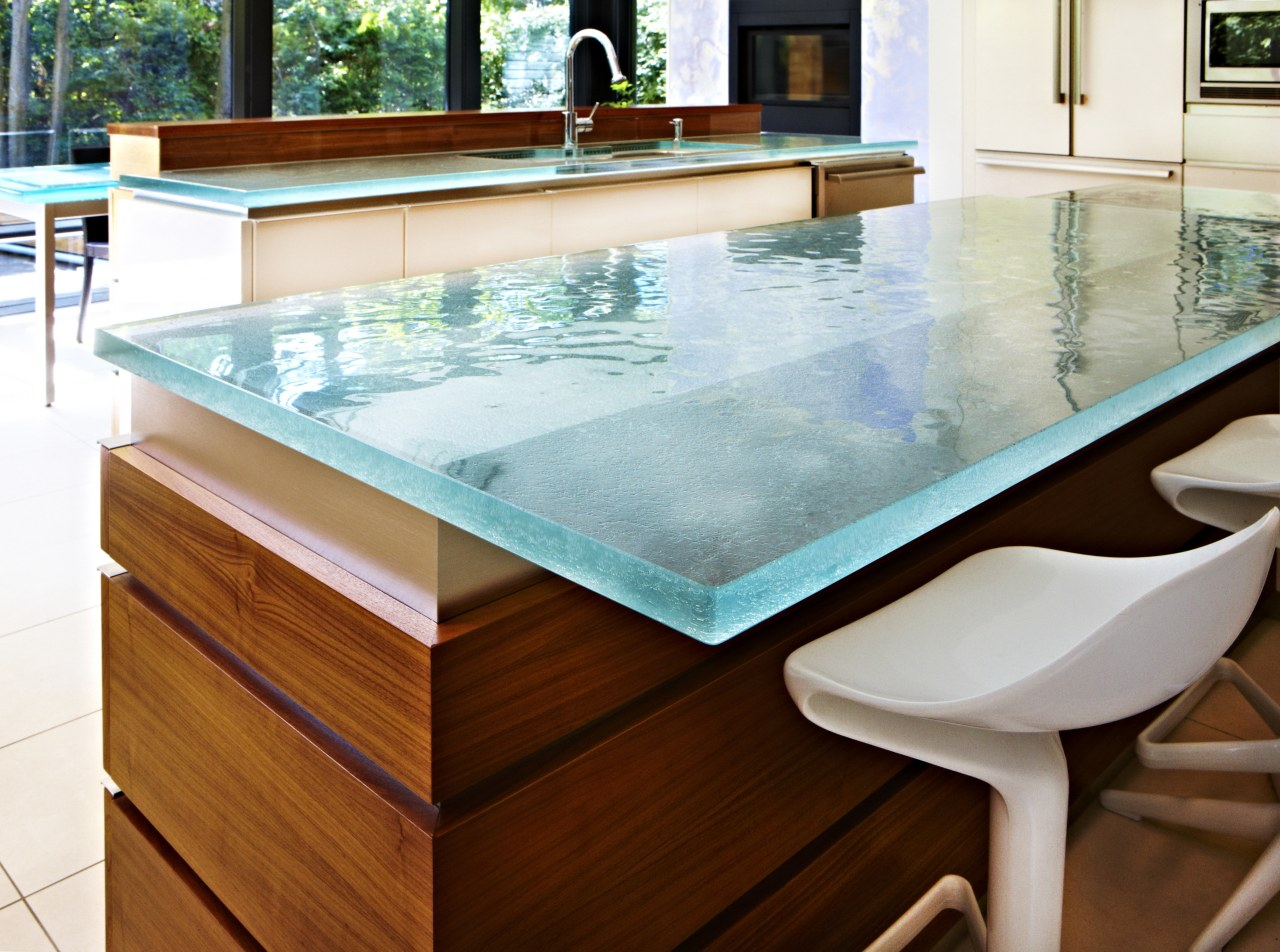 Custom glass countertop by ThinkGlass countertop, floor, furniture, swimming pool, table, white