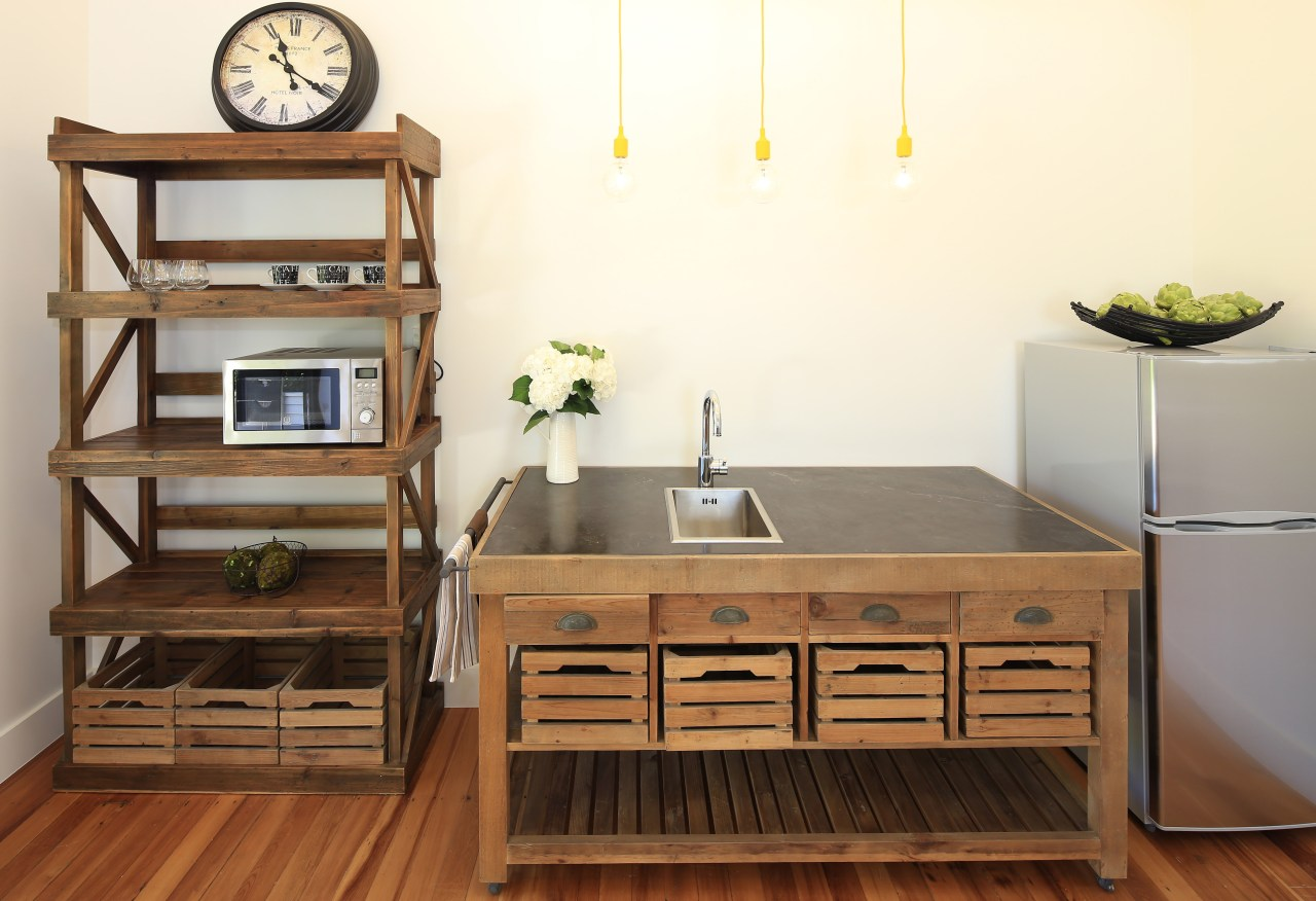 Kitchen elements originally designed as island benches, but cabinetry, chest of drawers, desk, drawer, furniture, hardwood, kitchen, product, shelf, shelving, table, wood, white, brown