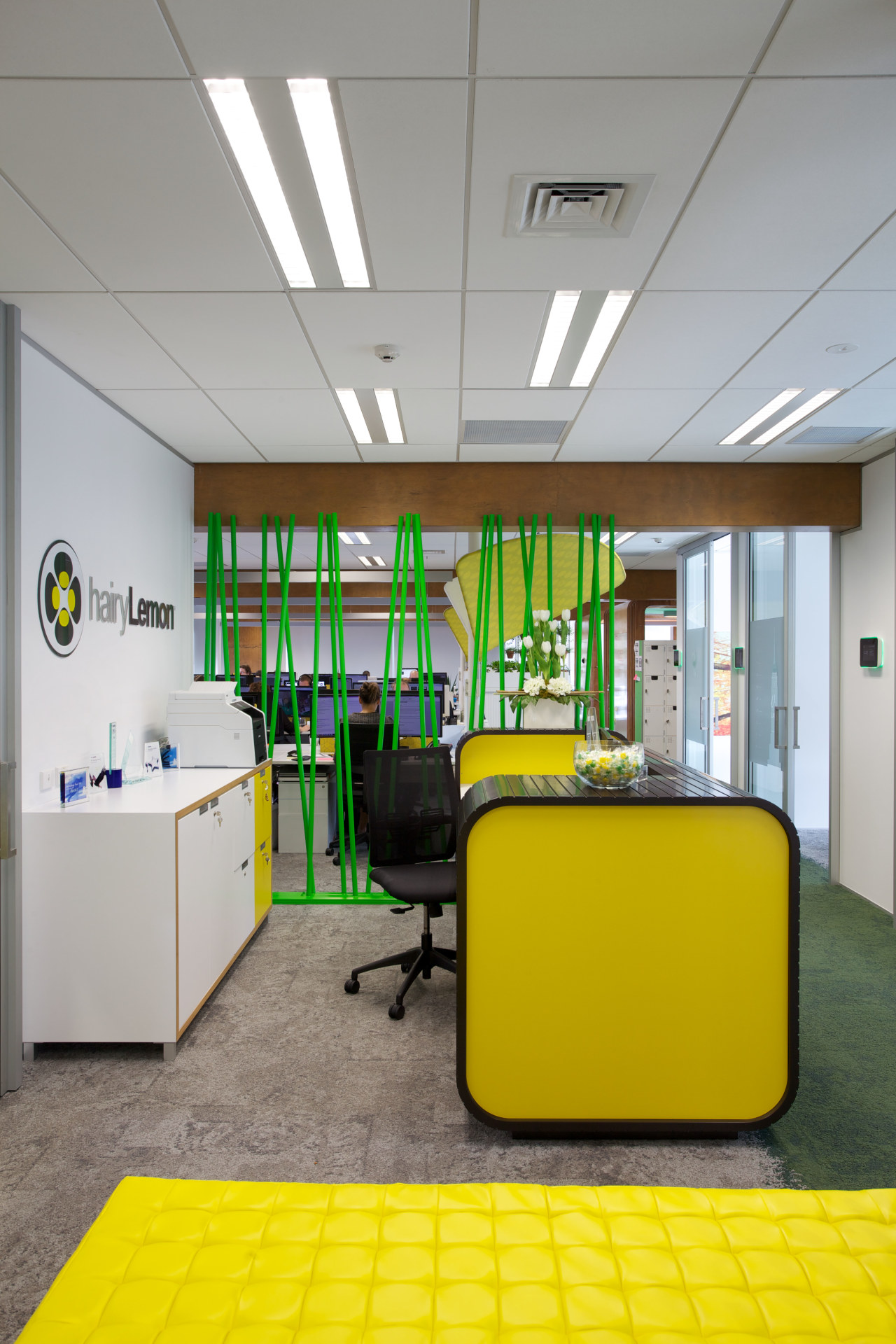 Colourful citrus shades enliven the Hairy Lemon offices ceiling, interior design, office, product design, gray