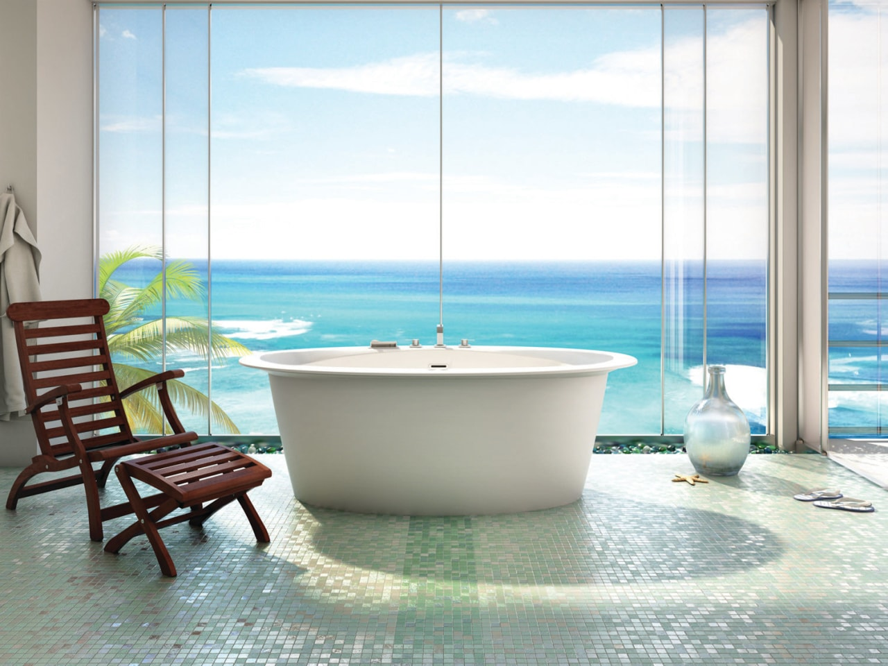 Resort-style bathing is all about the feel-good factor. bathroom, bathtub, interior design, plumbing fixture, property, sea, swimming pool, table, window, white
