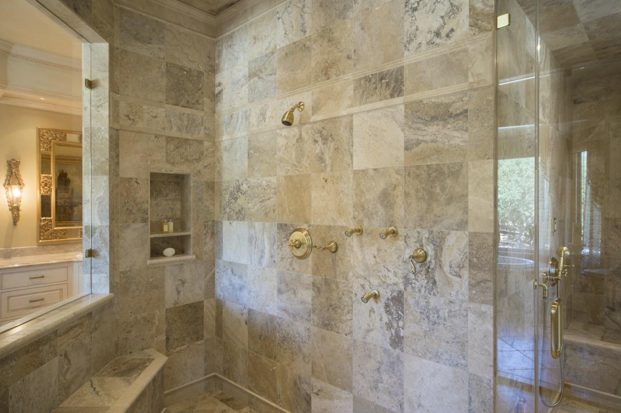 Marble lined steam shower room in traditional bathroom bathroom, ceiling, estate, floor, flooring, interior design, property, room, tile, wall, brown, orange