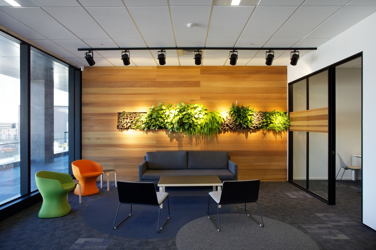 A strip of green set off the cedar architecture, ceiling, house, interior design, lobby, real estate, gray