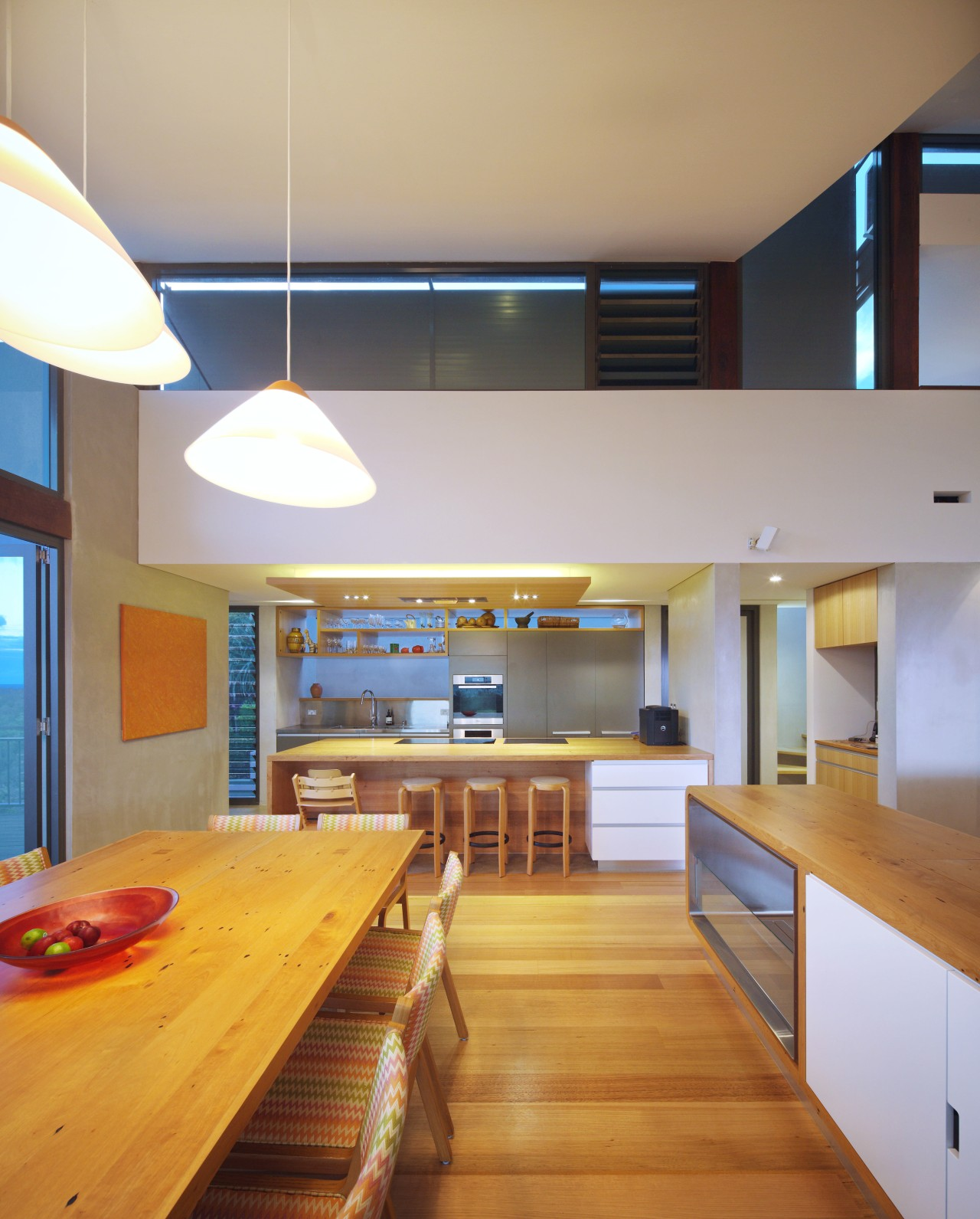 There are glazed walls behind the display shelving architecture, ceiling, countertop, daylighting, hardwood, house, interior design, kitchen, room, wood, gray, orange