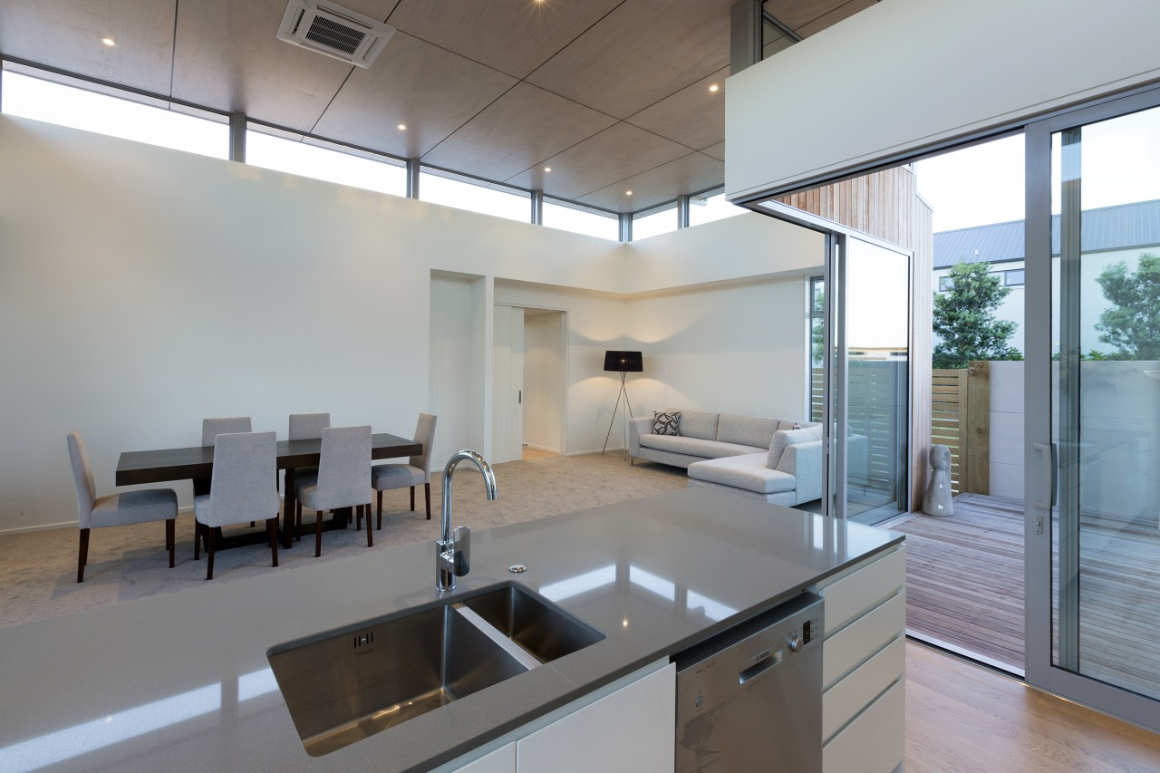 Kitchen and dining area architecture, ceiling, daylighting, house, interior design, real estate, window, gray