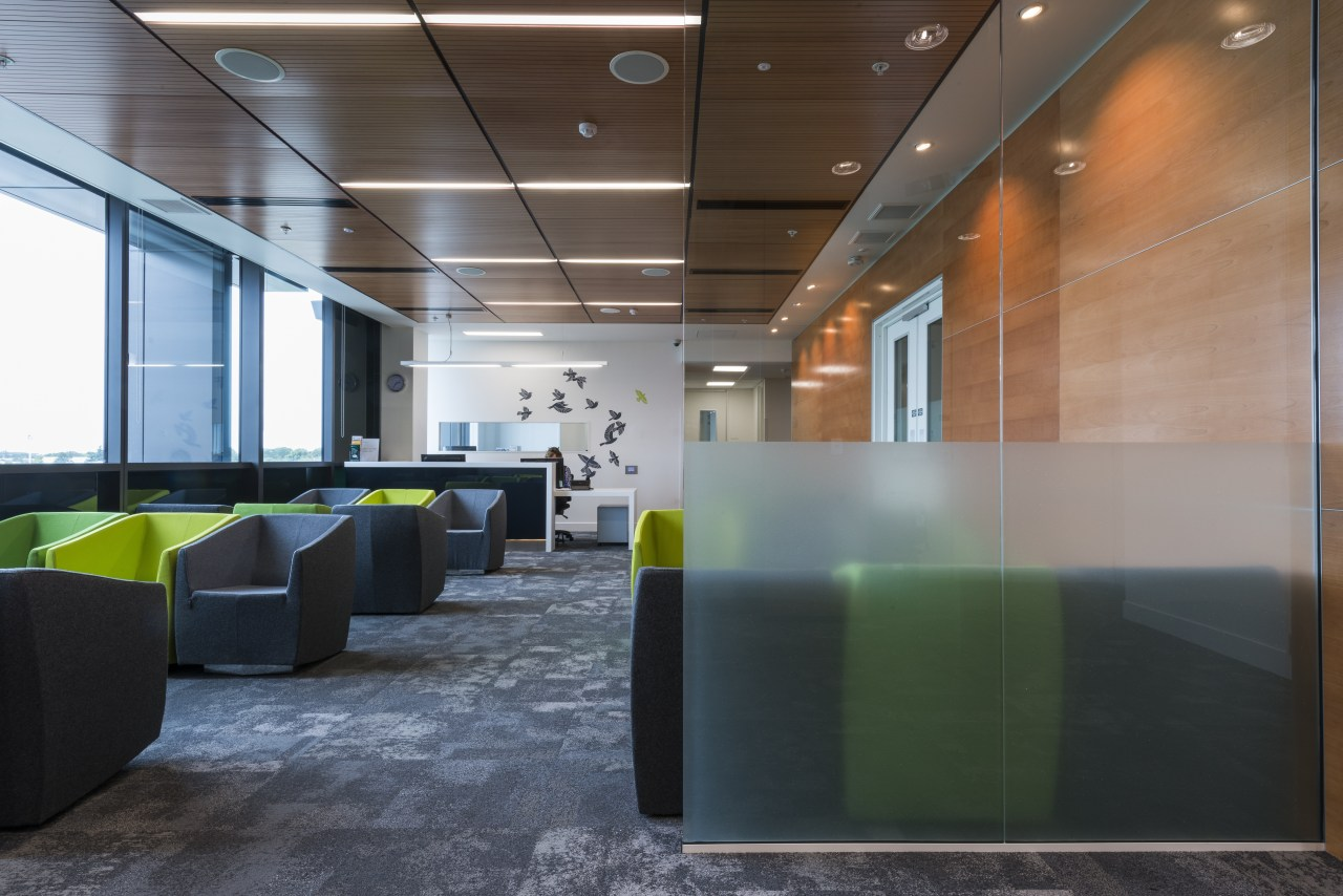 The fit-out for the new Forté Health medical architecture, ceiling, daylighting, interior design, lobby, office, real estate, table, wall, black