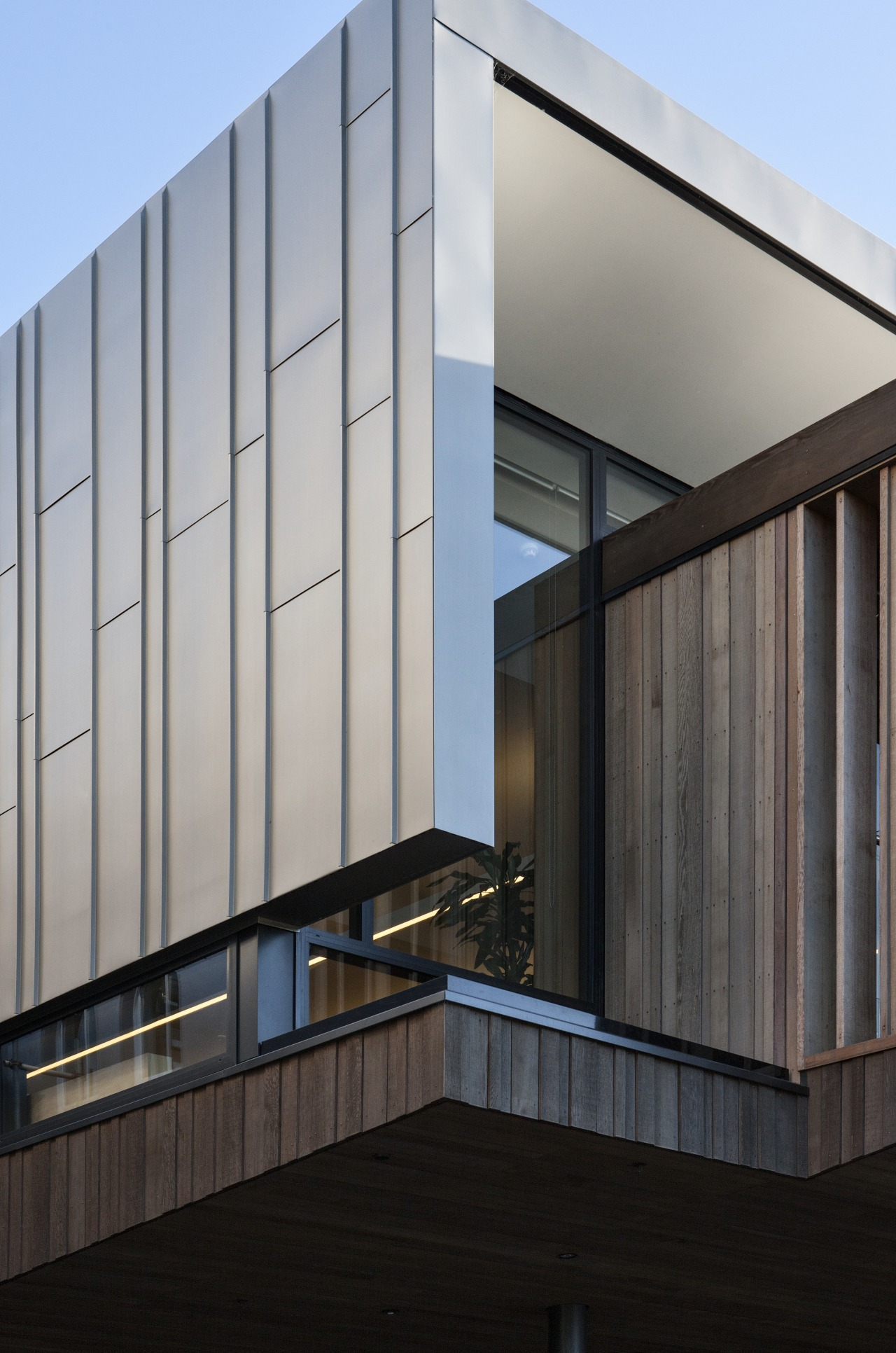 Titanium zinc cladding on modern building architecture, building, commercial building, corporate headquarters, daylighting, daytime, facade, headquarters, house, line, window, gray, black