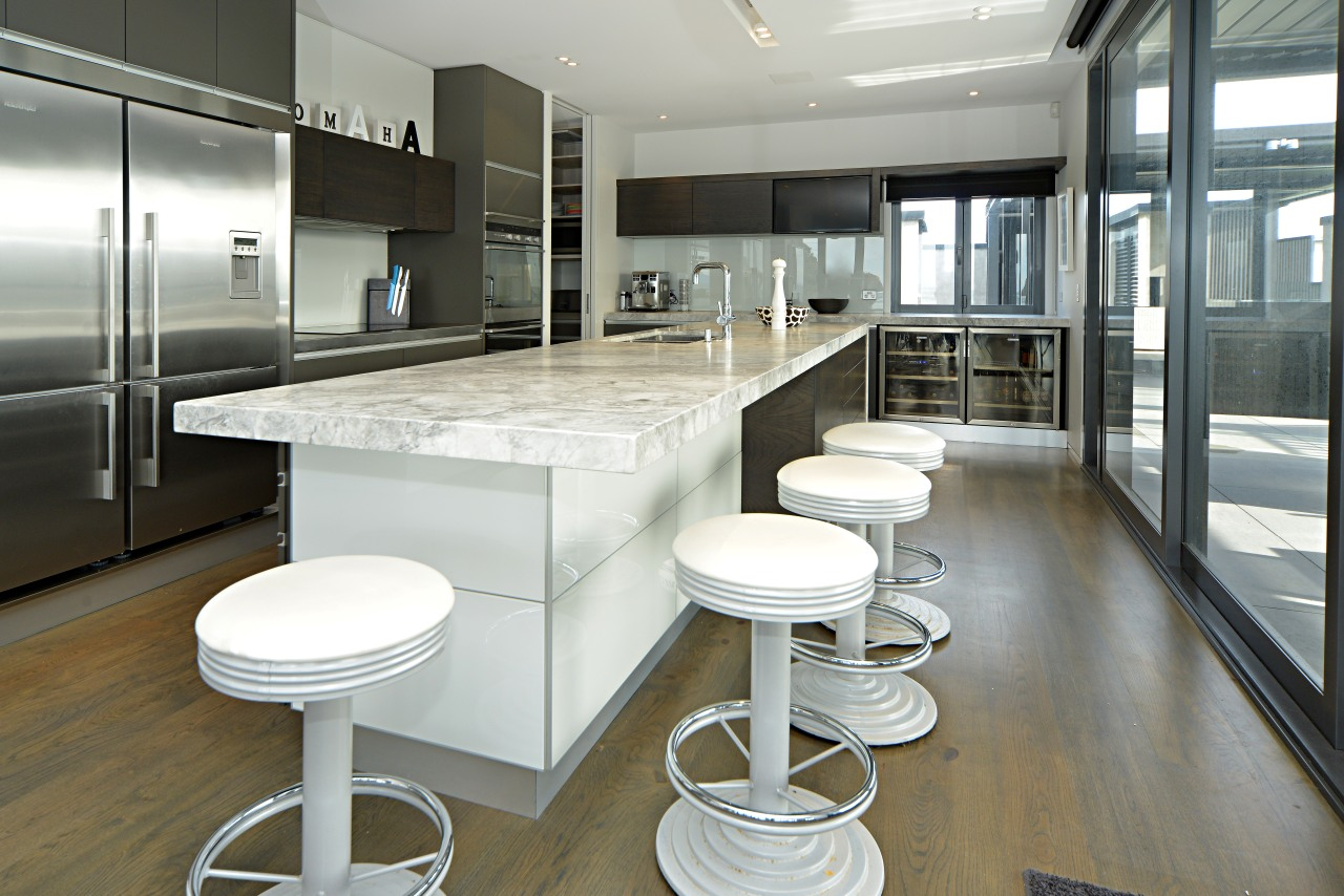 Kitchen area flooring with timber architecture, countertop, interior design, kitchen, real estate, gray