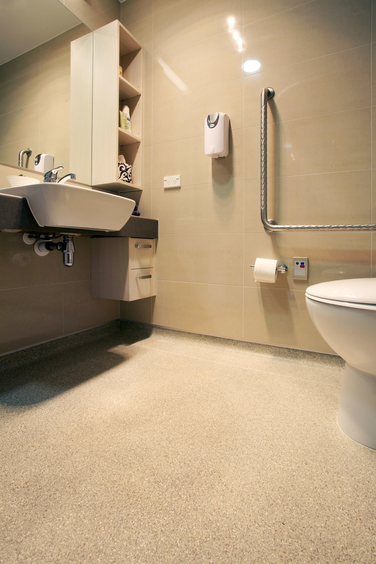 Durable, safe, anti-slip flooring for bathrooms in the bathroom, floor, flooring, interior design, plumbing fixture, product design, room, sink, tap, tile, orange