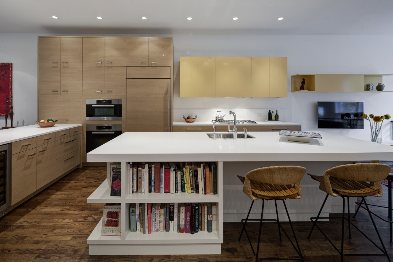 Modern open plan kitchen in city house architecture, cabinetry, countertop, cuisine classique, interior design, kitchen, room, gray, brown
