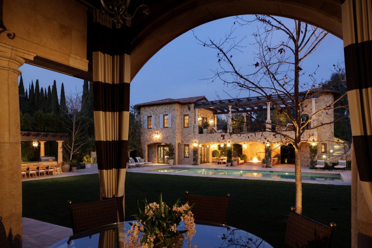 Crom formal to farmhouse  This pool house estate, evening, hacienda, home, hotel, lighting, night, property, real estate, reflection, resort, restaurant, sky, window, black