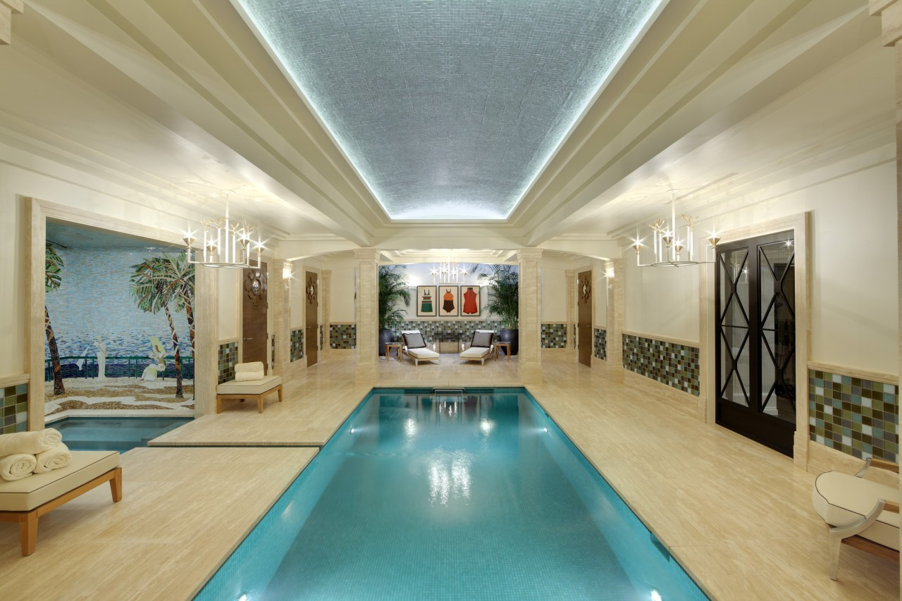 Travertine walls and floors in the pool and ceiling, estate, interior design, real estate, room, swimming pool, orange