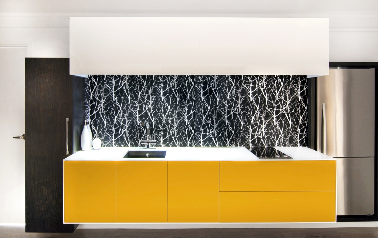 The yellow on this cantilevered cabinet is teamed floor, flooring, furniture, interior design, product design, wall, white