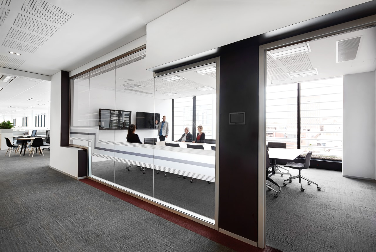 This high-tech meeting room in the new Charter floor, interior design, white