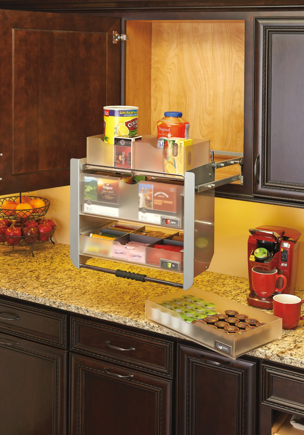 The Rev-A-Shelf 5UPD fits a 24 inch cabinet. cabinetry, countertop, interior design, kitchen, room, shelf, shelving, brown, orange