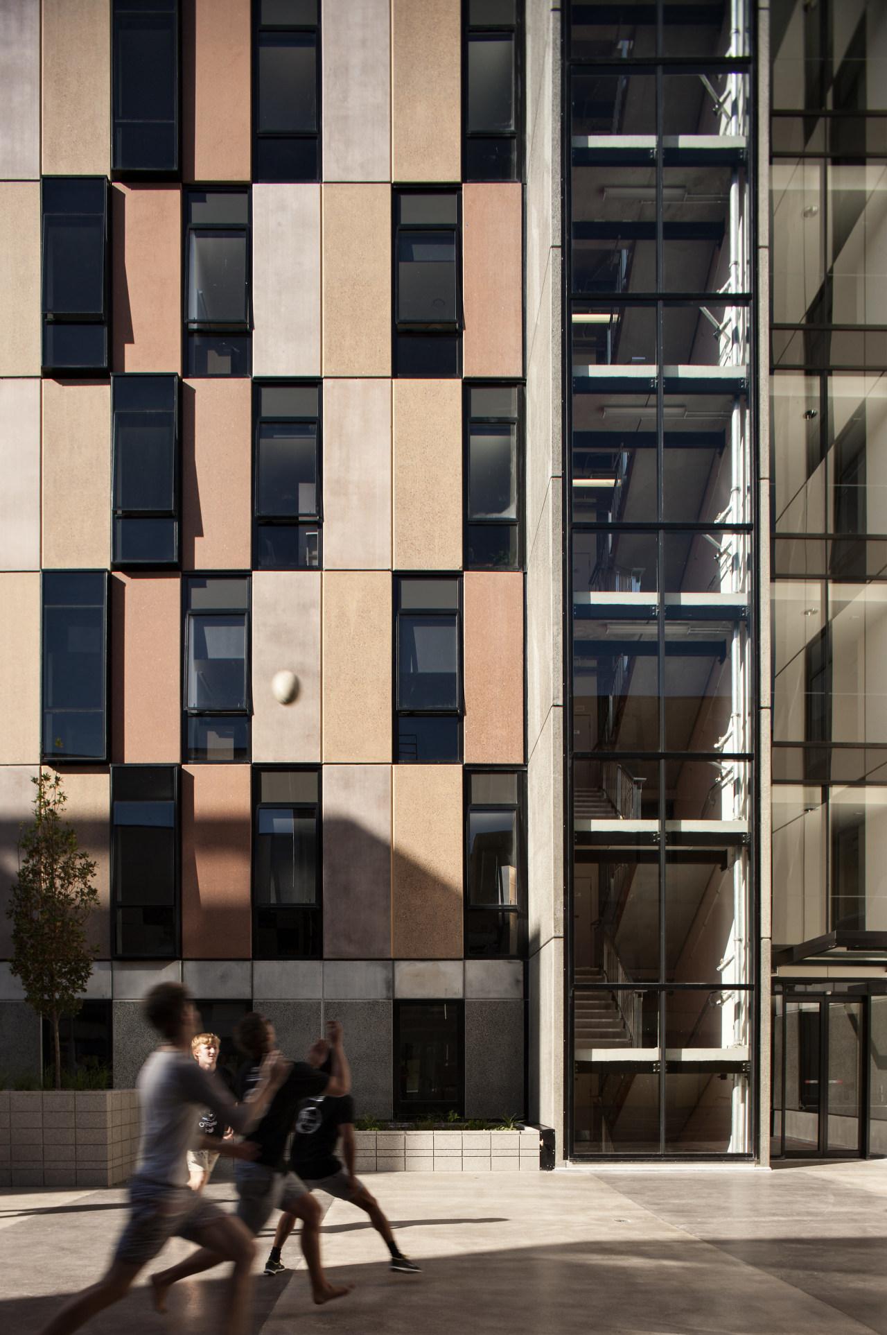 Carlaw Park Student Village in Auckland accommodates students apartment, architecture, building, condominium, facade, window, black