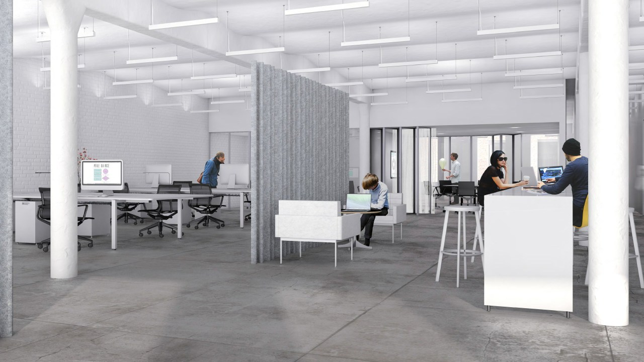 Office facilities and support are provided by New daylighting, floor, furniture, interior design, office, product design, gray
