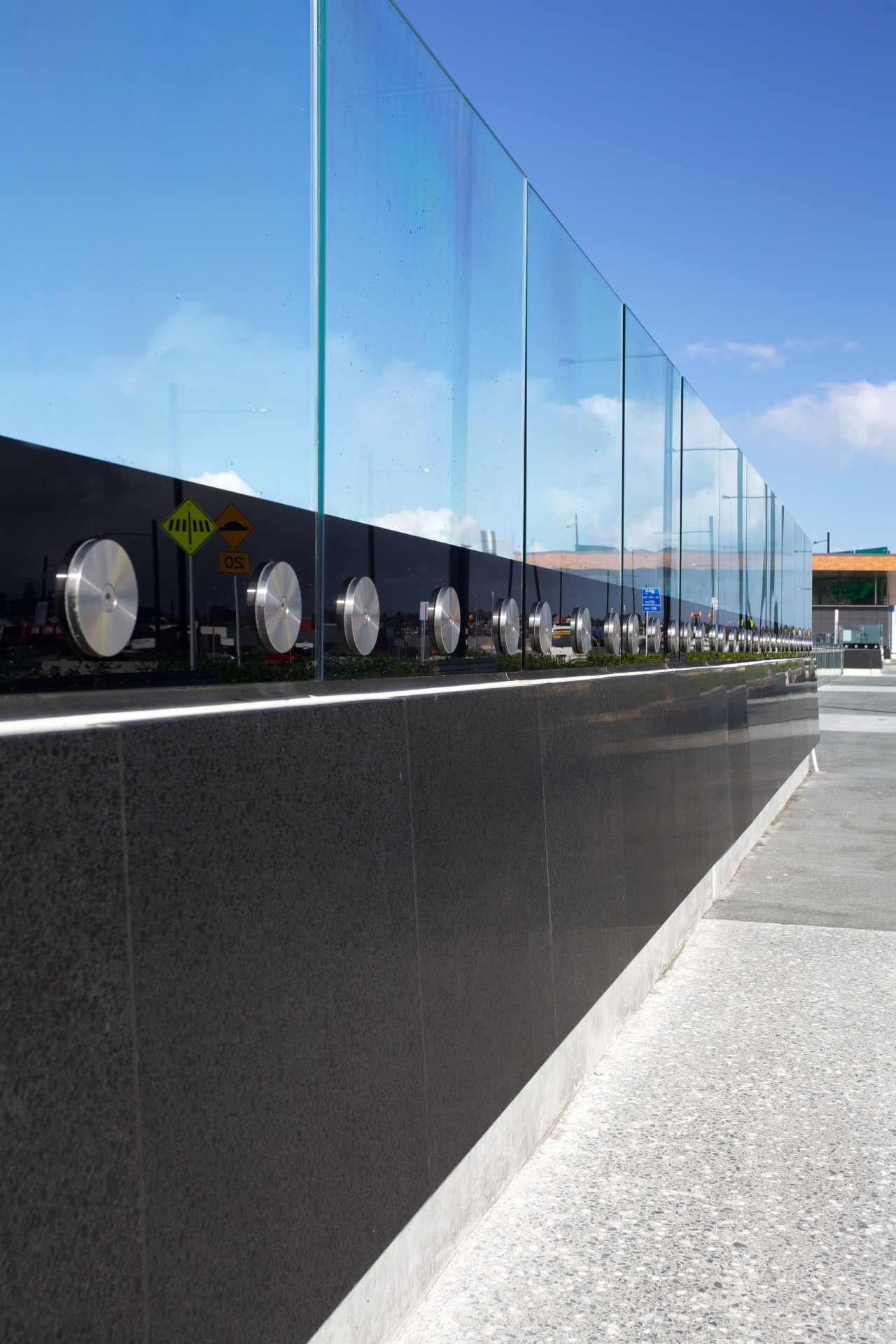 Honed basalt supplied by SCE Stone & Design architecture, facade, sky, black, teal