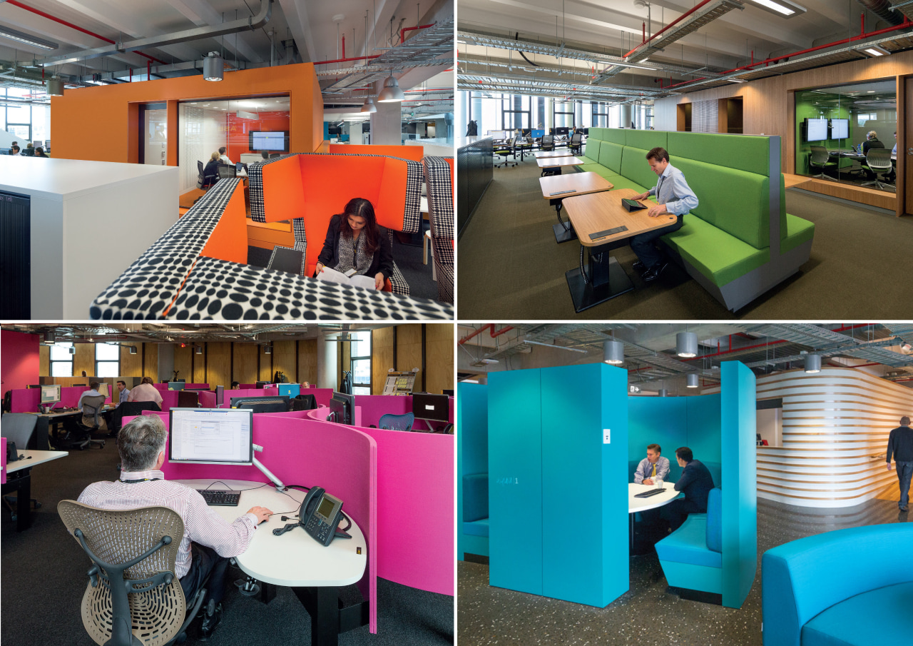 Lively office interiors that offer diverse workplace settings furniture, interior design, office, table