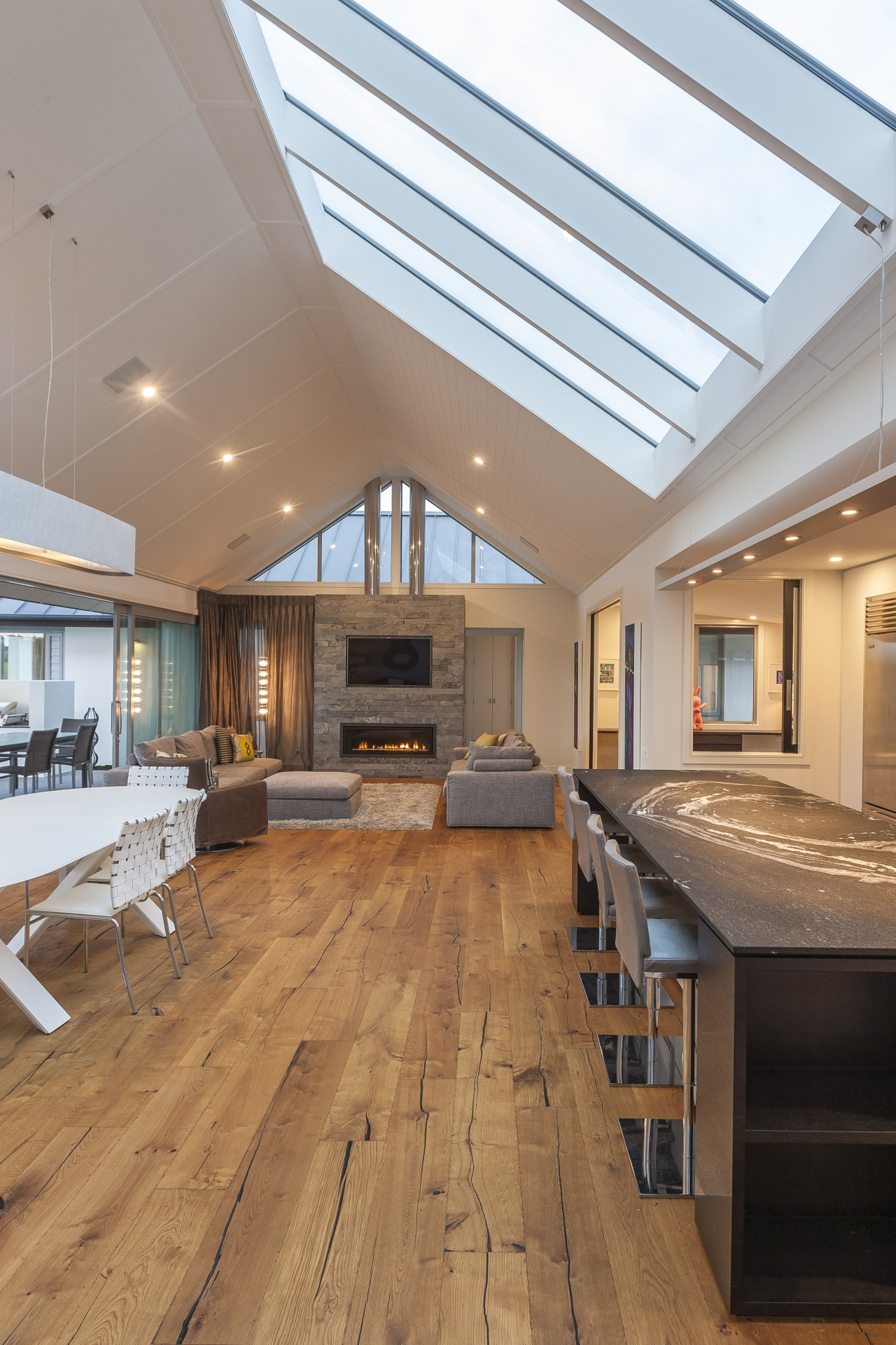 Sarking on the ceiling of this new pavilion-style architecture, ceiling, daylighting, estate, floor, flooring, hardwood, house, interior design, laminate flooring, living room, real estate, roof, window, wood, wood flooring
