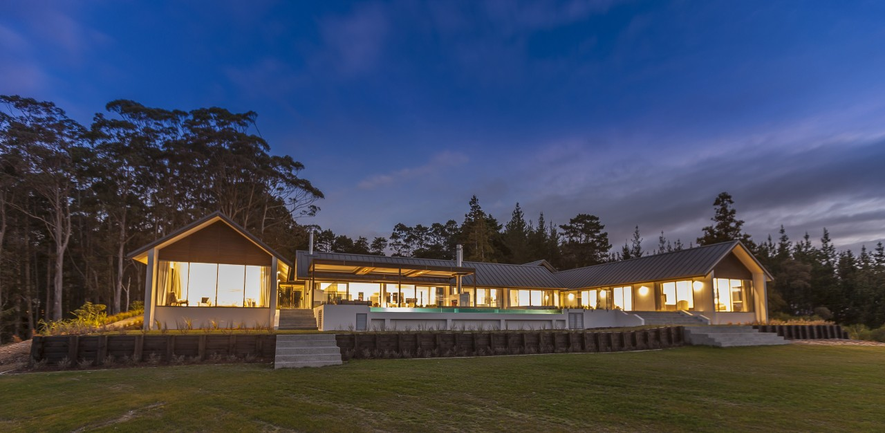 Contemporary country home architecture, cloud, cottage, estate, evening, farmhouse, home, house, landscape, log cabin, property, real estate, sky, blue