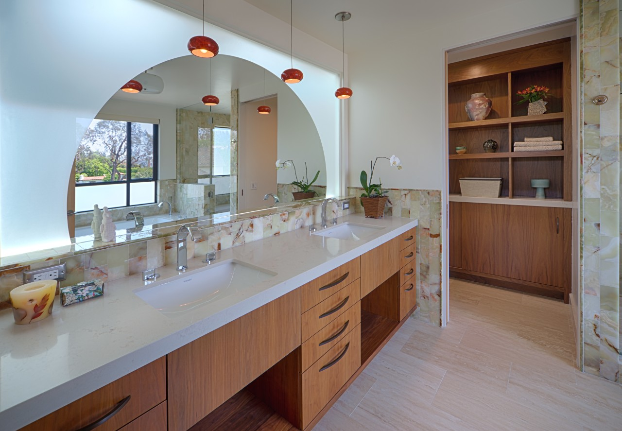 Architect Linda Brettler teamed flush walnut cabinetry with cabinetry, countertop, home, interior design, kitchen, real estate, room, gray