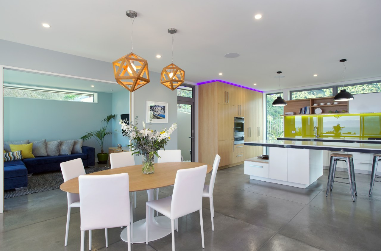 The interiors of this eco-friendly home are calm ceiling, dining room, house, interior design, real estate, room, table, gray