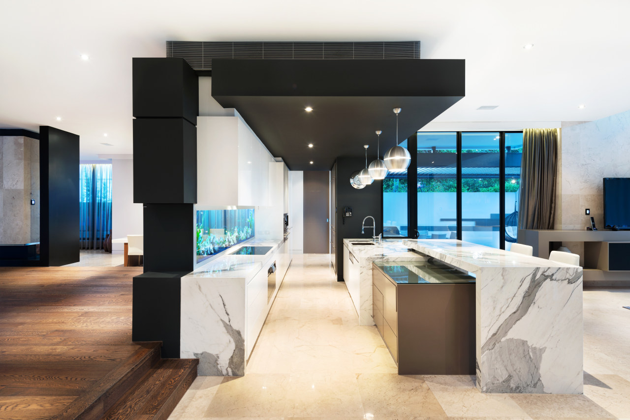 Overlapping marble tops and a dropped ceiling enhance interior design, table, white