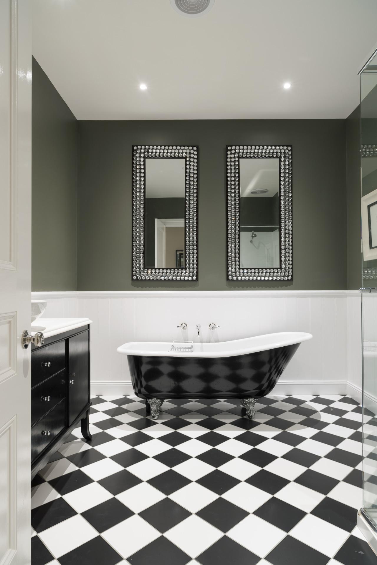 Transitional bathroom bathroom, countertop, floor, flooring, home, interior design, room, sink, tile, white, black