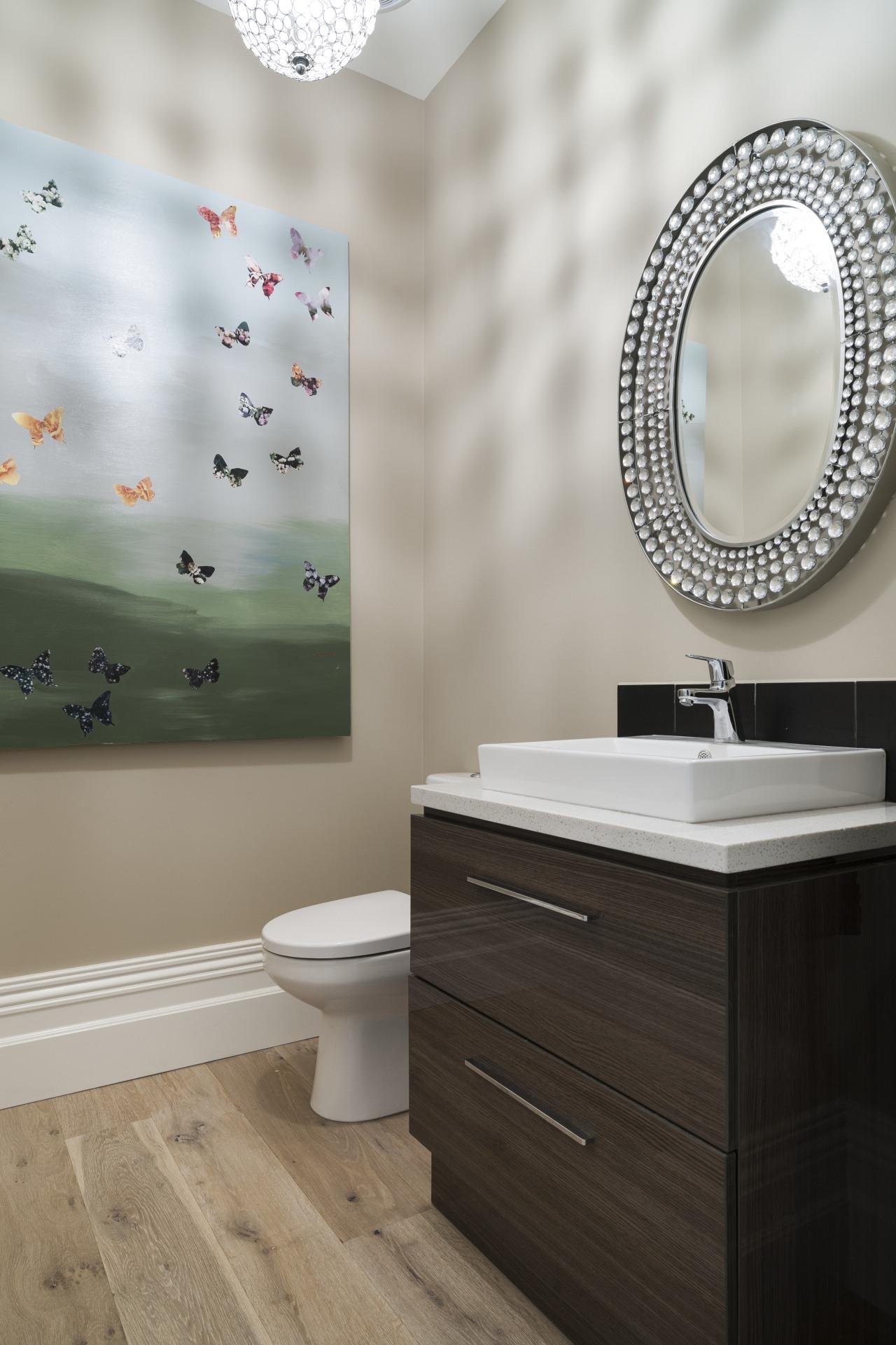 Neutral walls and engineered timber flooring that feature bathroom, bathroom accessory, bathroom cabinet, bathroom sink, ceramic, floor, interior design, plumbing fixture, product, product design, room, sink, tap, tile, wall, gray