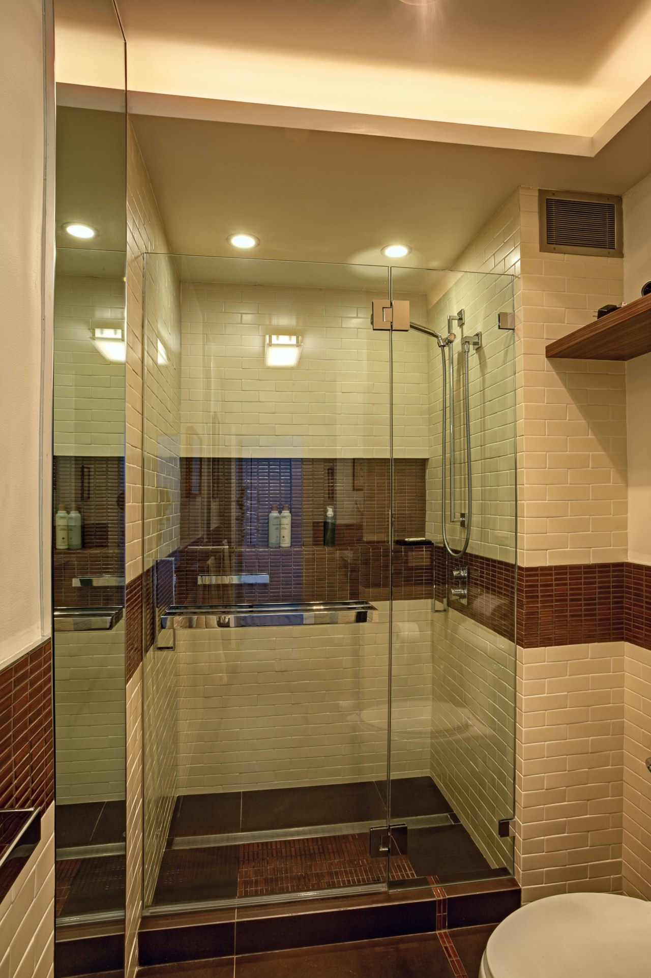 Craftsman-style tilework creates visual interest in this wheelchair-friendly architecture, bathroom, ceiling, estate, floor, flooring, glass, home, interior design, room, tile, wood, brown, orange