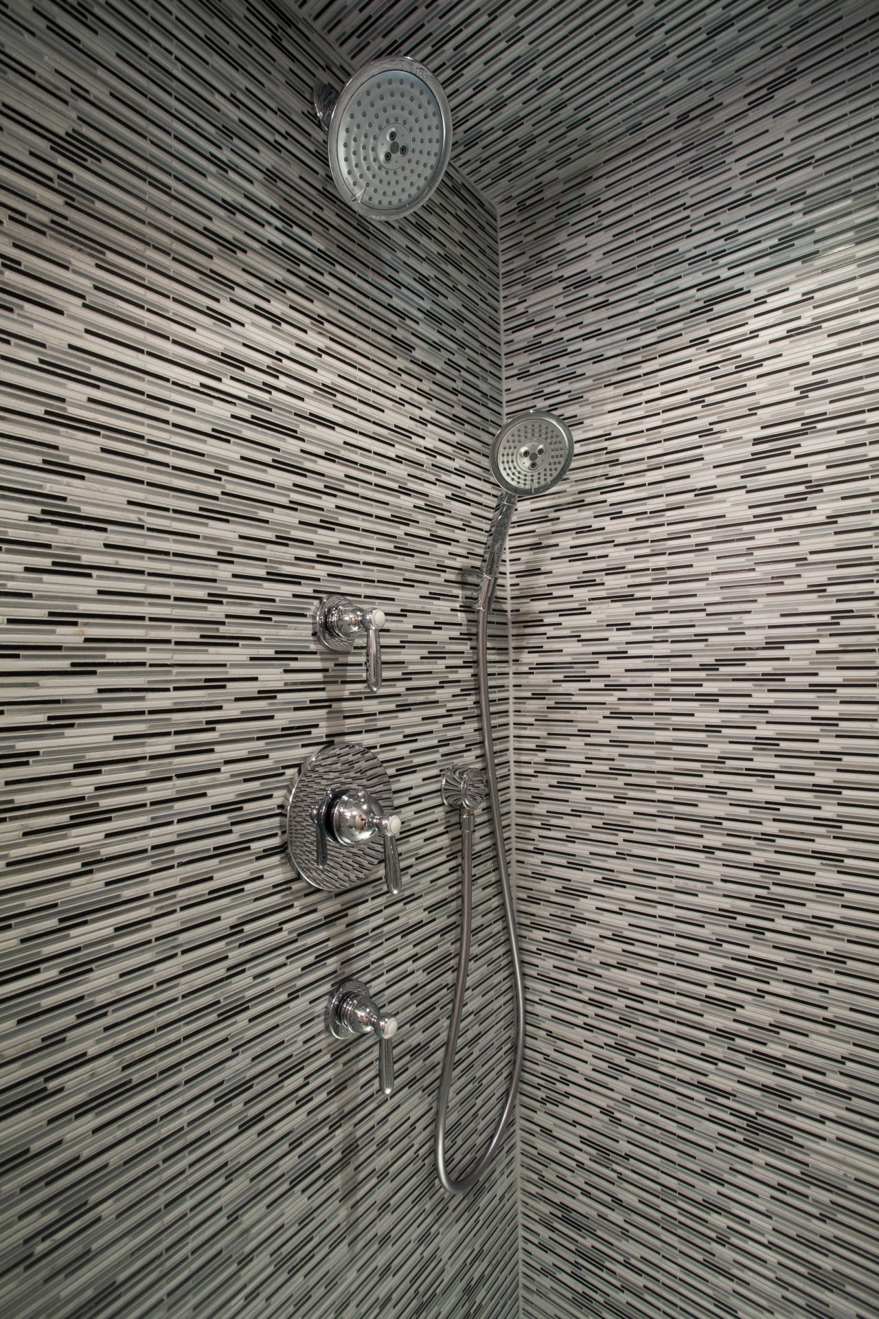 Shower in condominium bathroom renovation architecture, line, metal, structure, wall, wood, gray, black