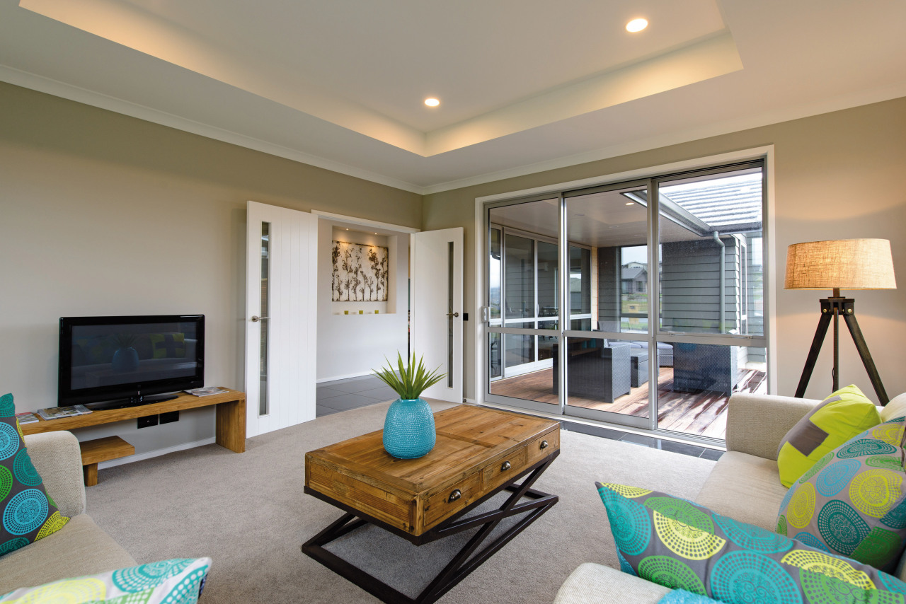 GJ Gardner Homes show home living ceiling, home, interior design, living room, property, real estate, room, gray