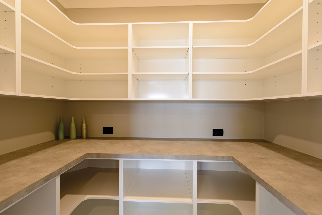 Walk in pantry architecture, cabinetry, ceiling, countertop, daylighting, floor, interior design, kitchen, lighting, product design, real estate, orange, brown