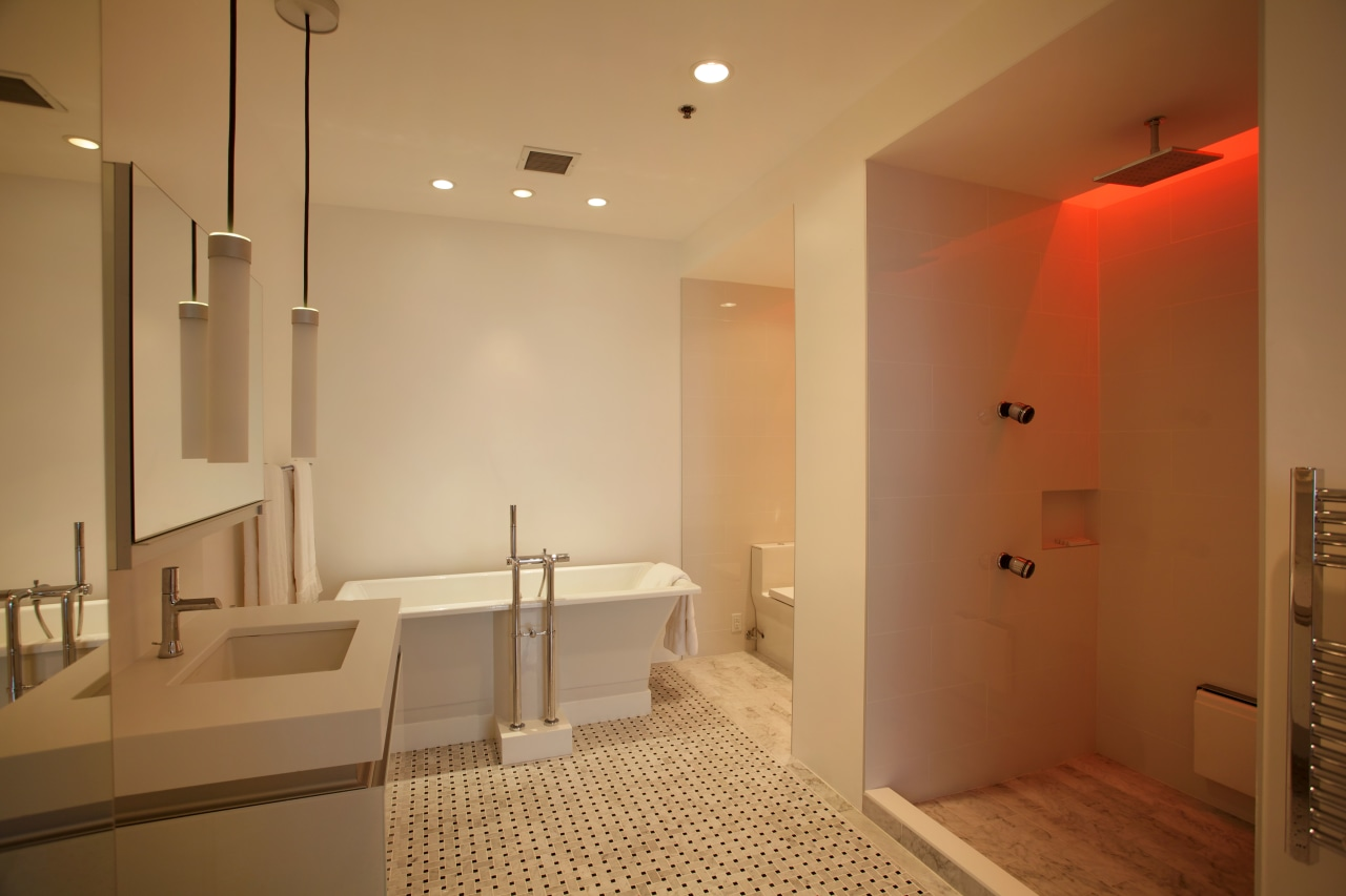 Red, green, blue  the shower offers chromatherapy, architecture, bathroom, ceiling, floor, flooring, home, interior design, lighting, real estate, room, brown, orange