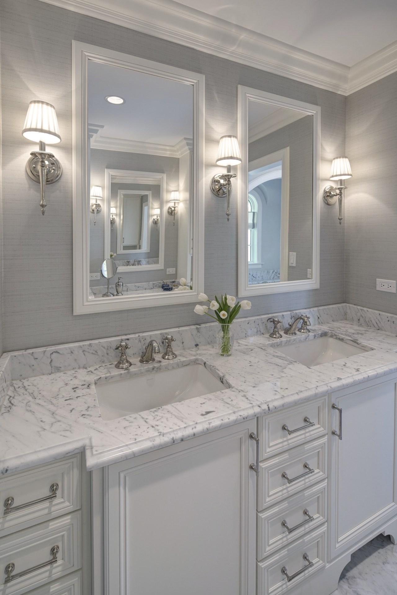 Vanity in traditional bathroom suite bathroom, bathroom accessory, bathroom cabinet, cabinetry, countertop, cuisine classique, floor, home, interior design, kitchen, room, sink, tile, wall, gray