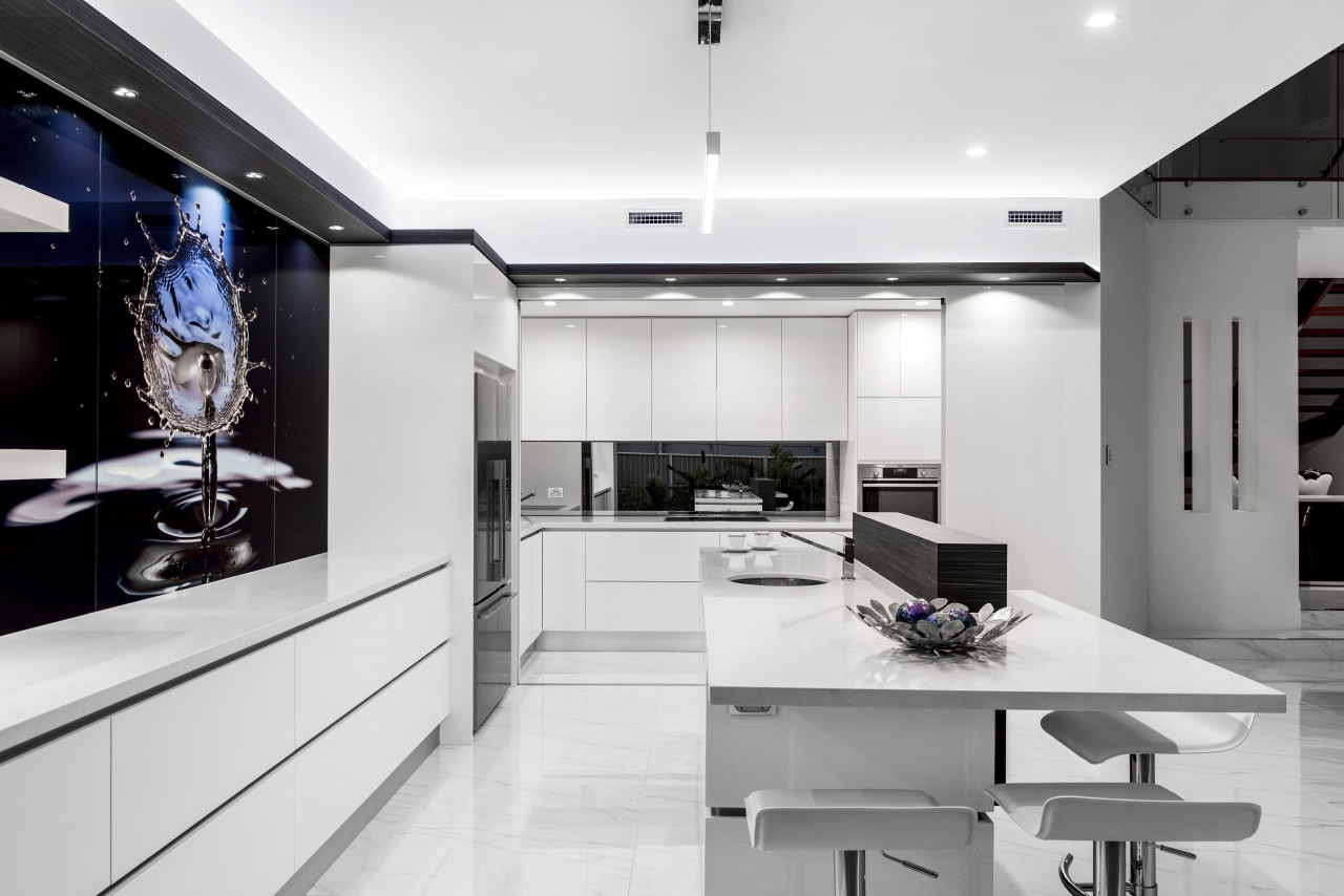 The scullery in this modern kitchen has a countertop, interior design, interior designer, kitchen, product design, white