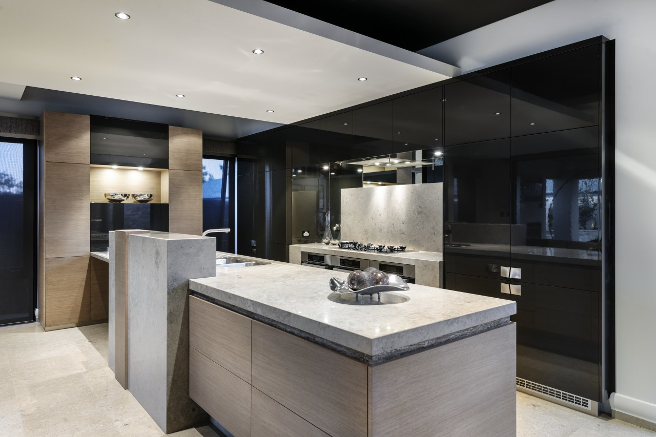 There is a blade ceiling in this kitchen, countertop, cuisine classique, interior design, kitchen, real estate, gray, black