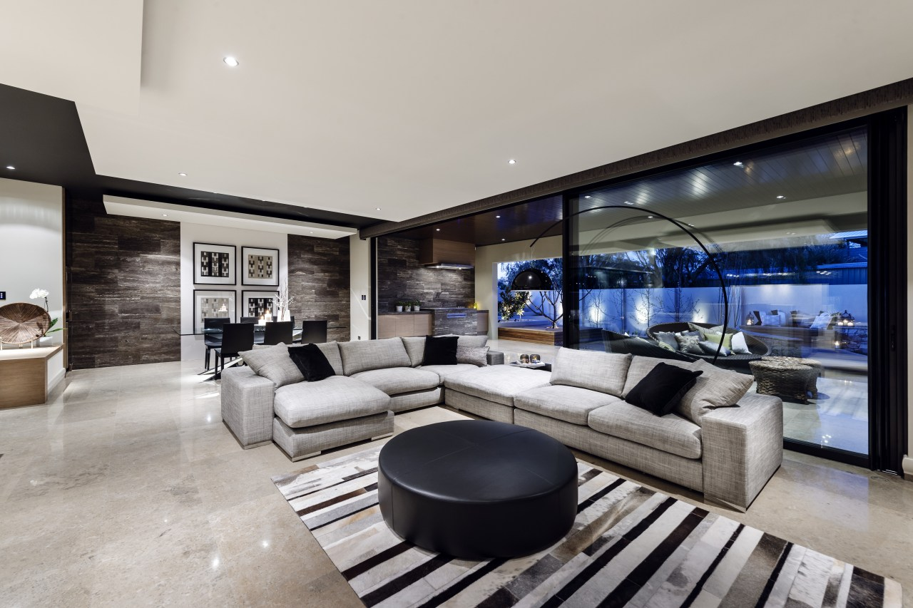 Open plan living connects with outdoor kitchen estate, home, house, interior design, living room, penthouse apartment, property, real estate, gray, black