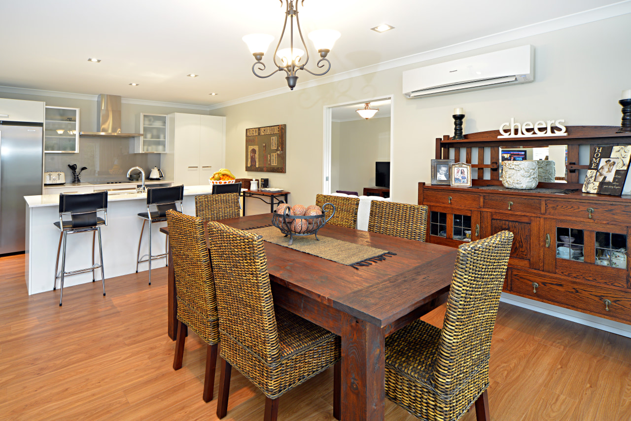 Contemporary kitchen dining by Sentinel Homes dining room, flooring, interior design, kitchen, living room, property, real estate, room, table, white