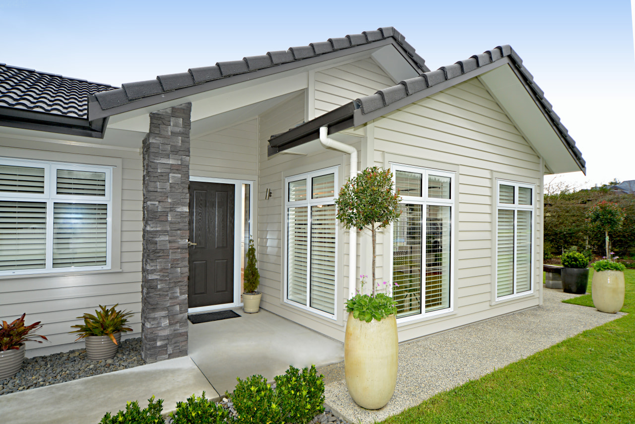Palliside weatherboards traditional look, low maintenance cottage, elevation, estate, facade, home, house, property, real estate, residential area, siding, window, yard, gray