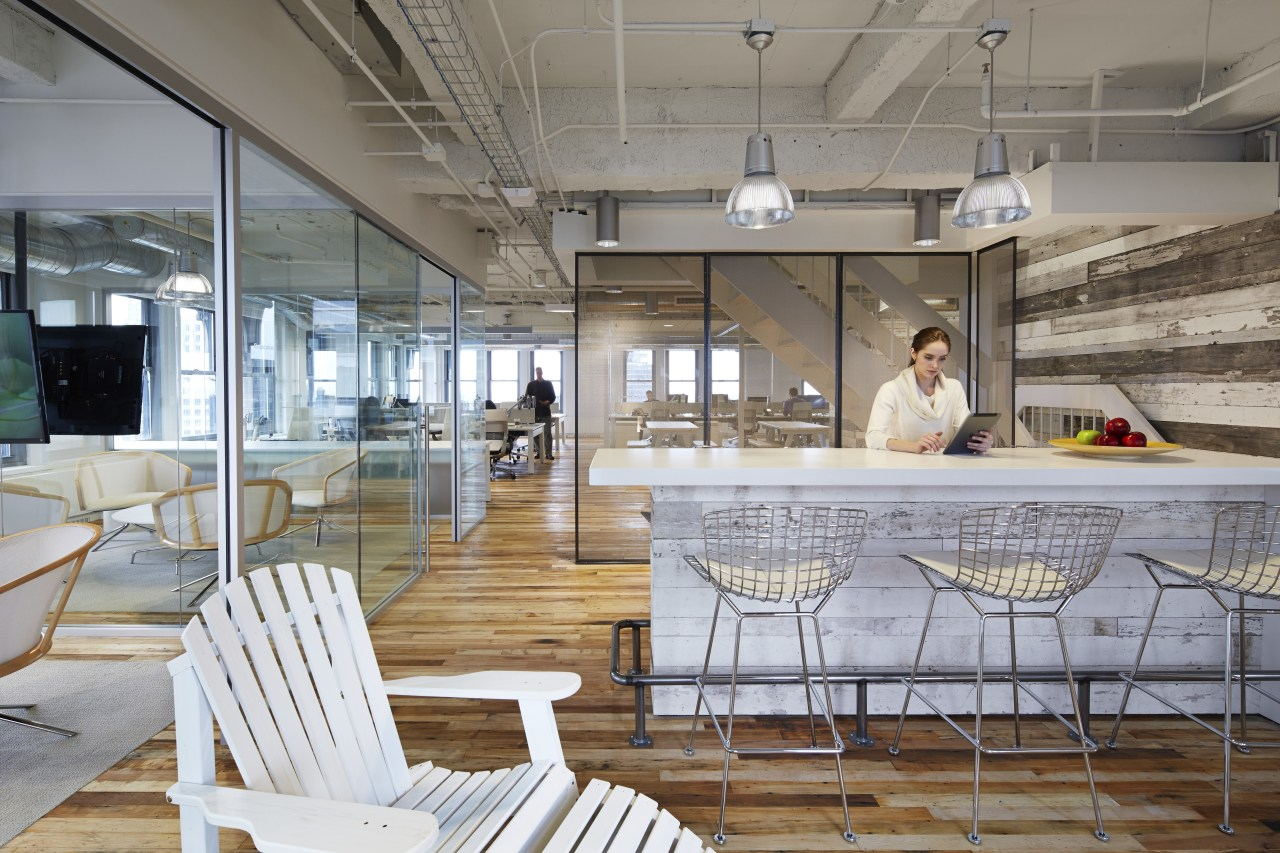 Kitchen and breakout area in contemporary loft-style office architecture, interior design, table, gray