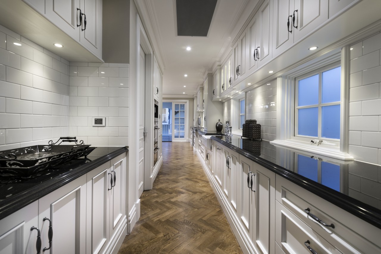 Windows in the scullery is this Oswald Homes countertop, home, interior design, kitchen, gray